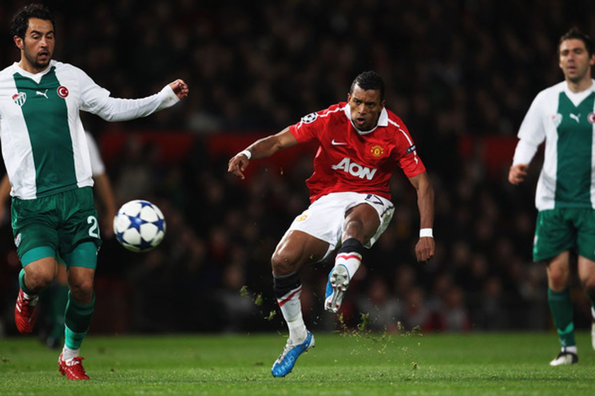 Nani scores the only goal for Manchester United