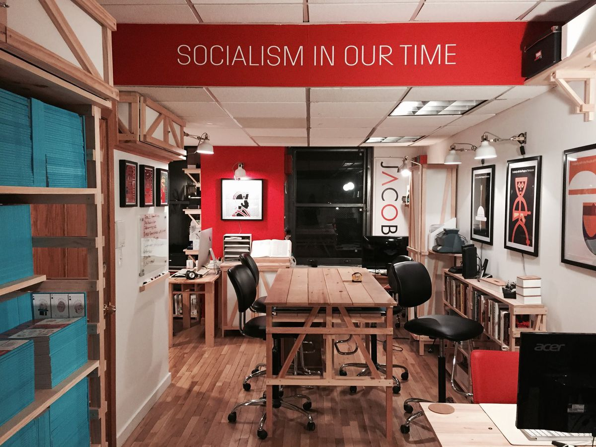 """A banner declares """"Socialism in our time."""""""
