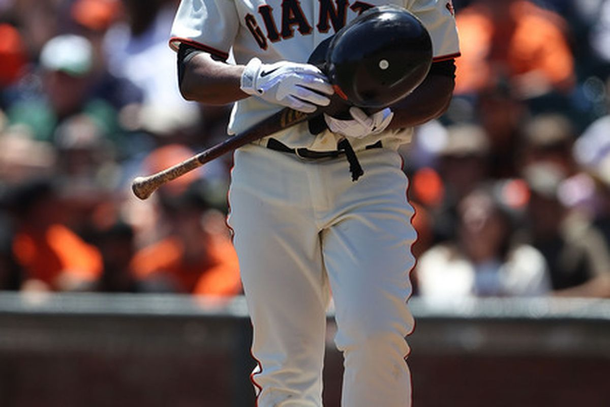Slow. I had no idea, but slow. So slow. The Giants just reacquired Bengie Molina, and he's playing right field now.