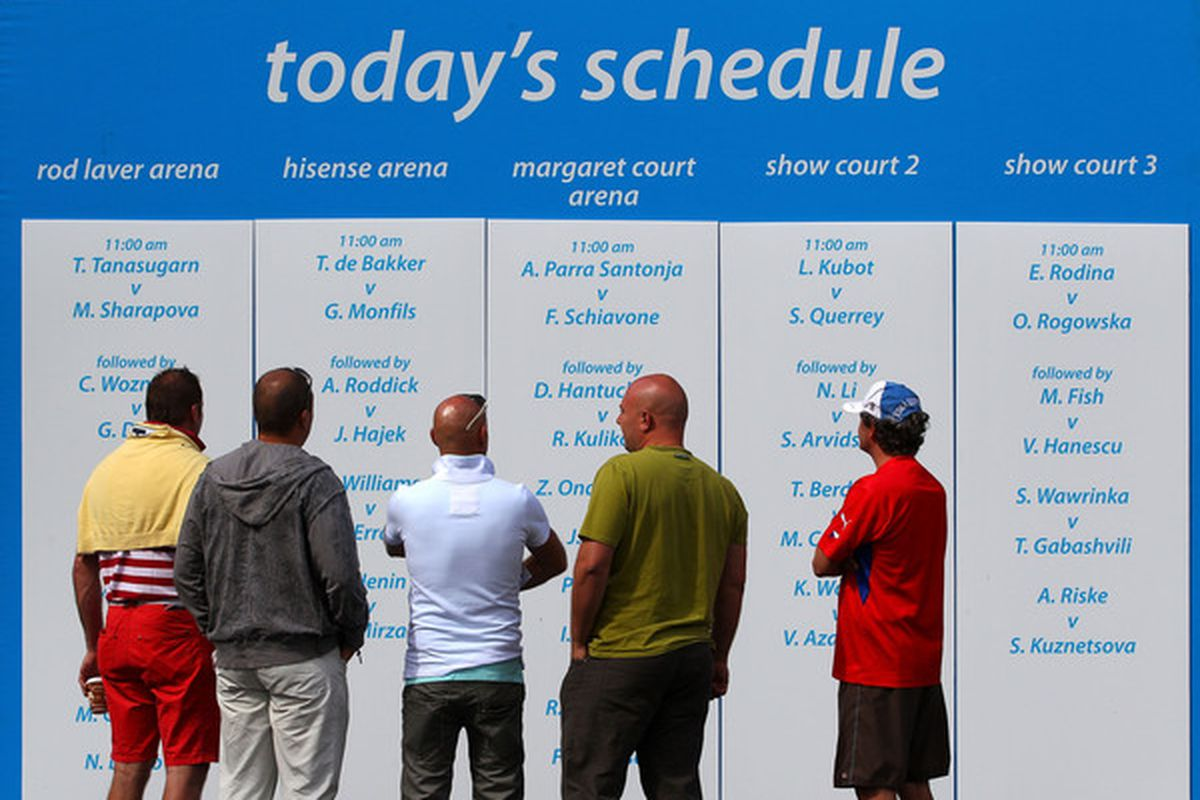 MELBOURNE AUSTRALIA - JANUARY 17: Tennis fans reads the daily match schedule during day one of the 2011 Australian Open at Melbourne Park on January 17 2011 in Melbourne Australia.  (Photo by Scott Barbour/Getty Images)