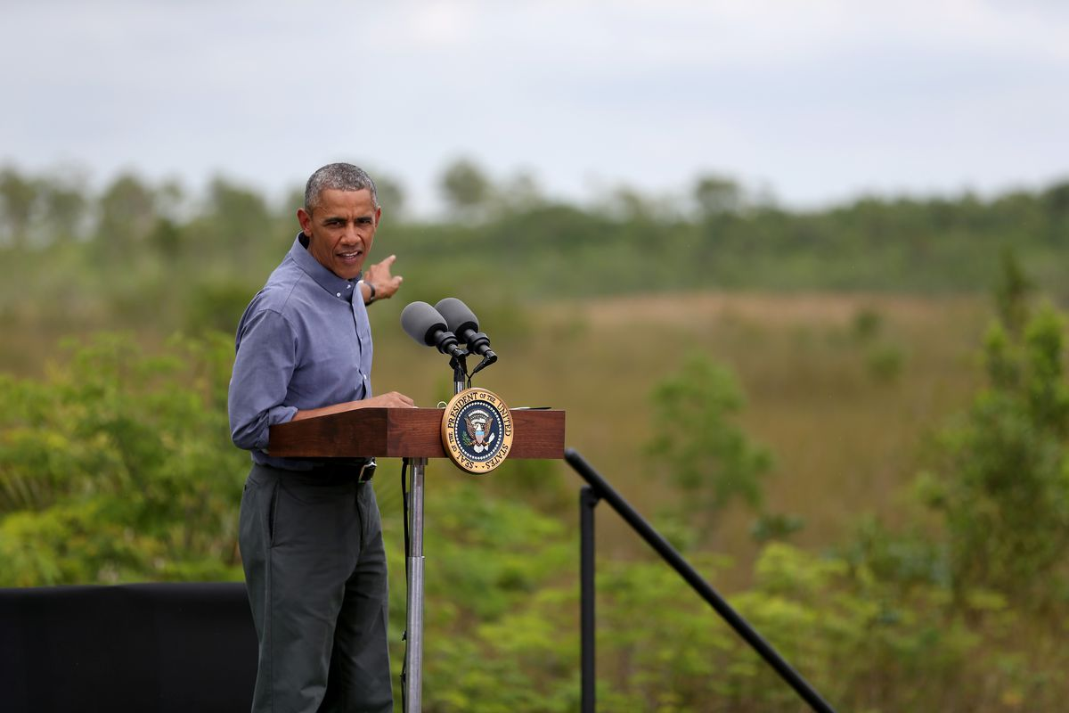 President Obama speaks about climate change on Earth Day in 2015, in Everglades National Park