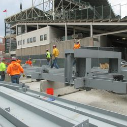 2:59 p.m. Framework for the right-field video board laid out on Sheffield -