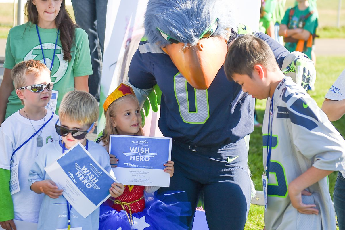 Trystian Nusser (second from the left), hanging out with Blitz and some other Wish Kids before the Walk for Wishes.