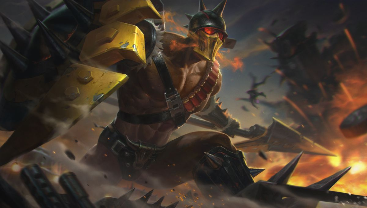 Ruthless Pantheon's splash art, which has more of a Mad Max theme in comparison to his other outfits. His helmet is round with spikes on top, and he's battling amidst fiery chaos.