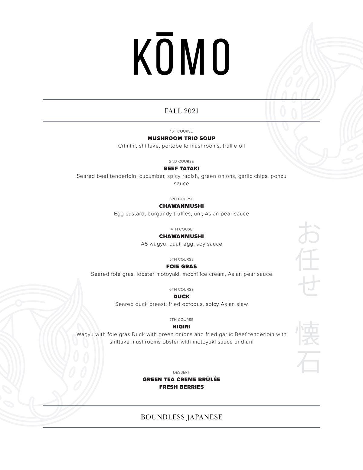 A Japanese restaurant's menu