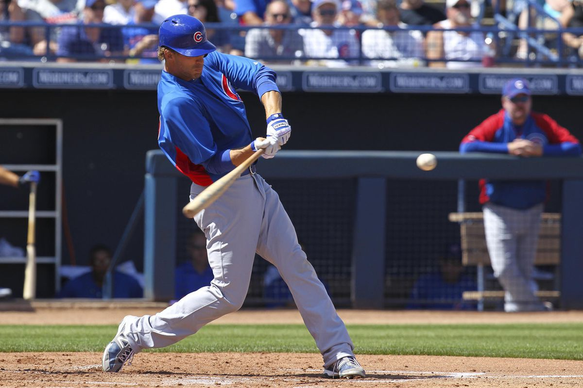 Peoria, AZ, USA; Chicago Cubs' Joe Mather at bat against the San Diego Padres at the Peoria Sports Complex. Credit: James Guillory-US PRESSWIRE