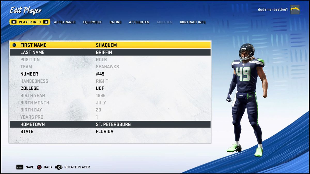 screenshot of Seattle Seahawk Shaquem Griffin in the roster improving menu of Madden NFL 20