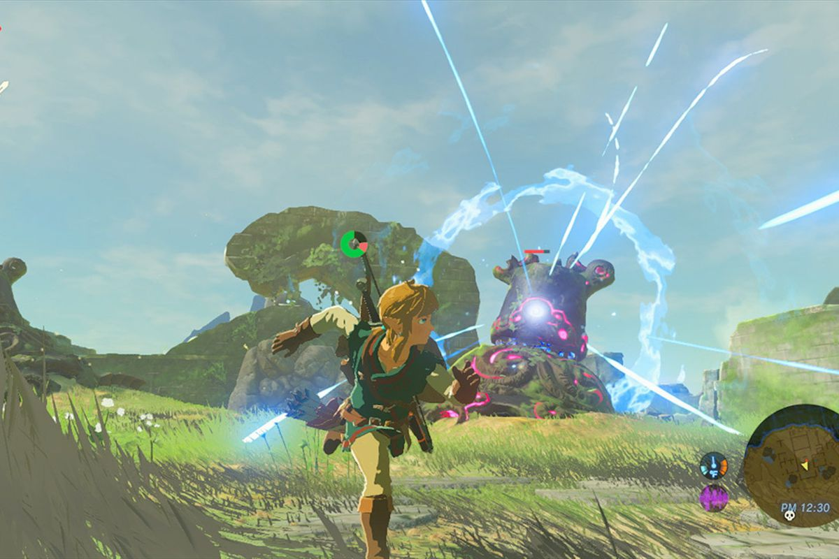 Link runs away from an enemy in Breath of the Wild.