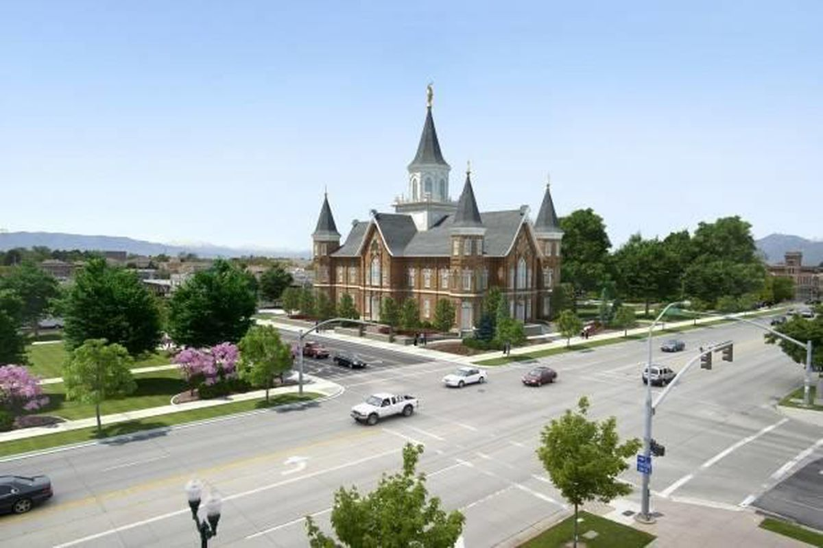 Artist's rendering of the LDS Church's planned Provo City Center Temple being built to resemble the historic Provo Tabernacle, which was destroyed by fire in late 2010.