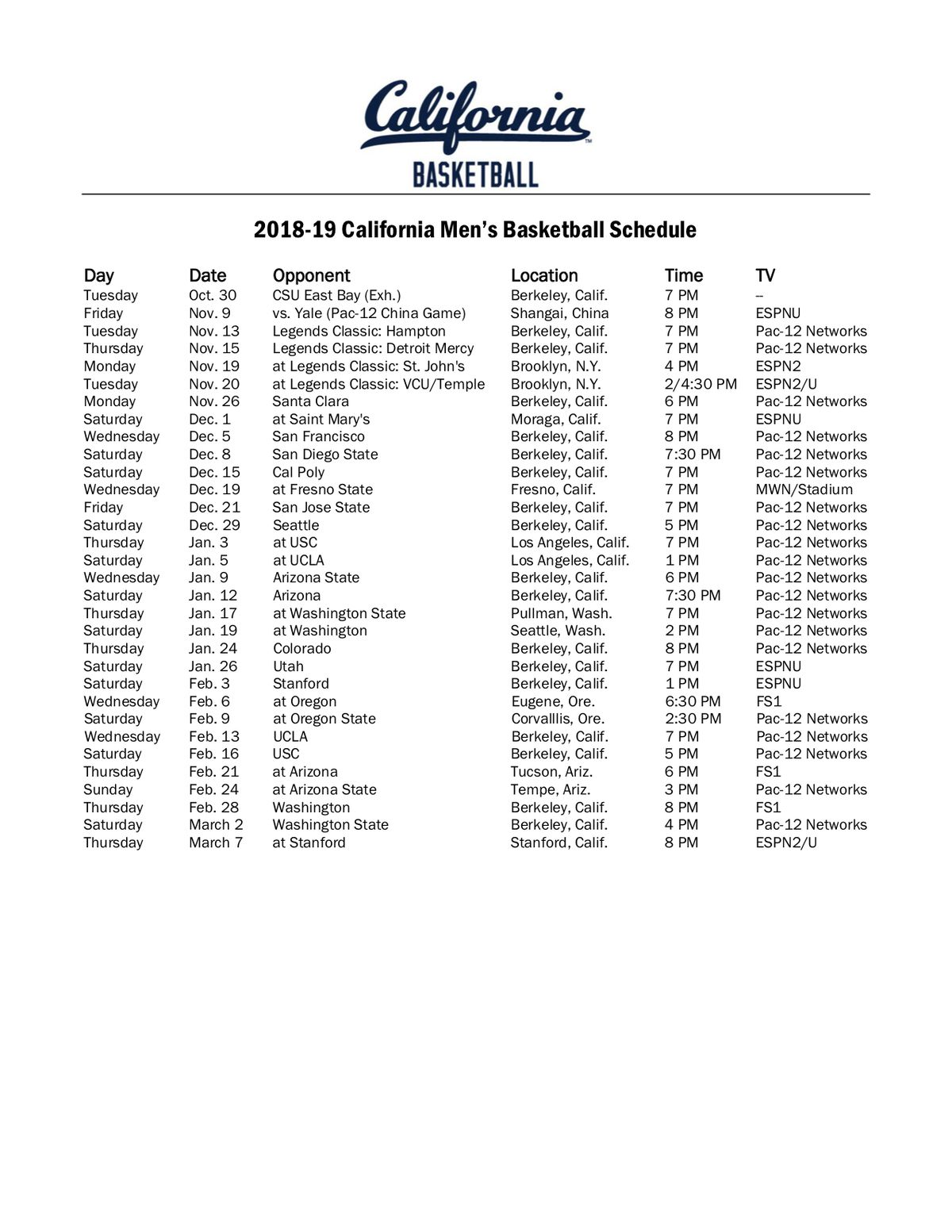 Cal MBB Pac-12 Schedule for 18-19 released! - California