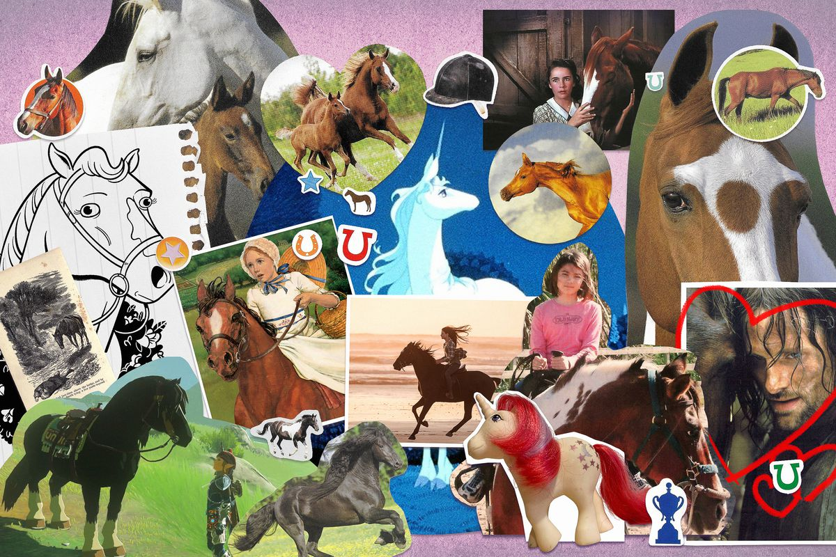 A collage of horse photos and drawings on a pink background