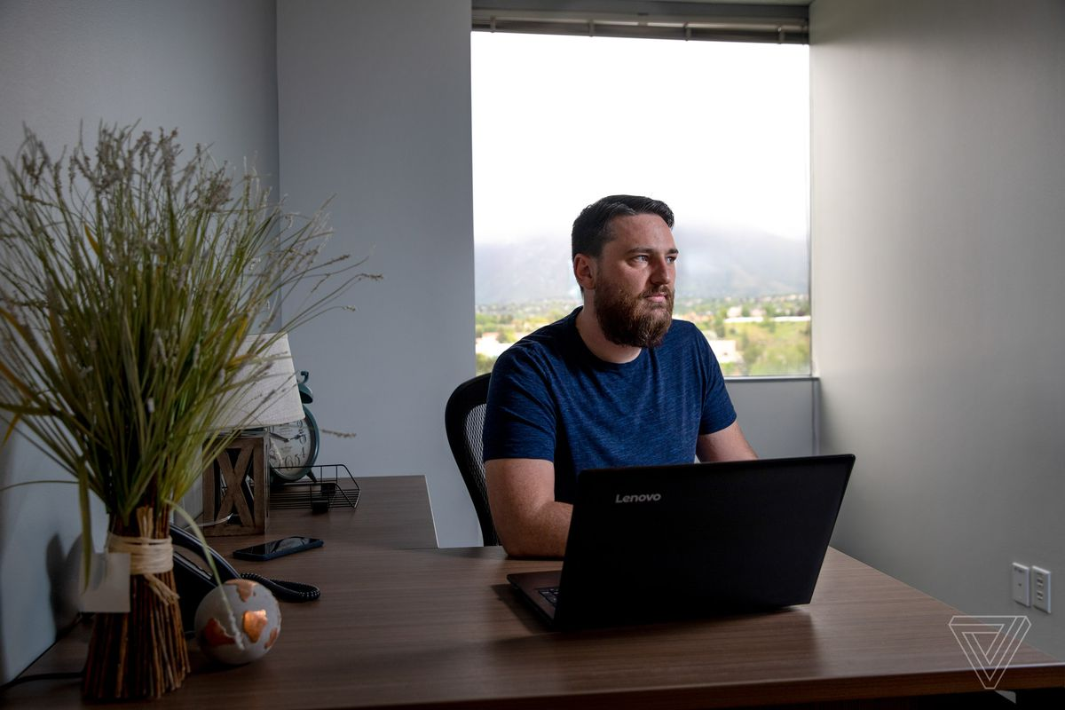 Mark Naugle creator of quitmormon.com, which helps people be officially removed from LDS records, is photographed in his rented office space in Cottonwood Heights, Utah on May 23, 2019.