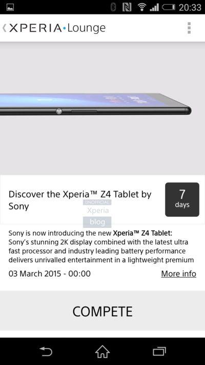 xperia z4 tablet leak