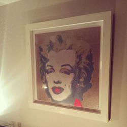 Andy Warhol's art decorates the space.