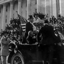 President Woodrow Wilson during a visit to Utah.