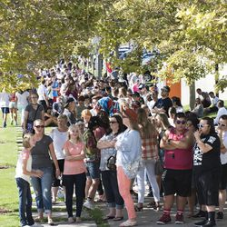 Concertgoers wait in line for the LoveLoud Festival at Utah Valley University in Orem on Saturday, Aug. 26, 2017.     The festival was created by lead singer of Imagine Dragons, Dan Reynolds, to promote acceptance and support to individuals in the LGBTQ community. In addition, the festival shed light on suicide prevalence in the LGBTQ community.   LGBTQ inclusive groups such as The Trevor Project, GLAAD, Encircle and Stand4Kind benefited from the LoveLoud Festival.