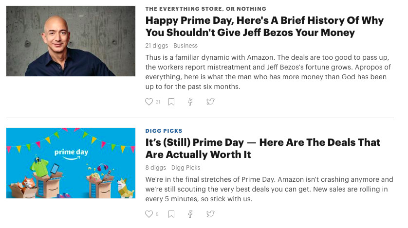 Screenshot of two articles side-by-side on Digg, one about why not to buy from Amazon and the other about Prime Day deals