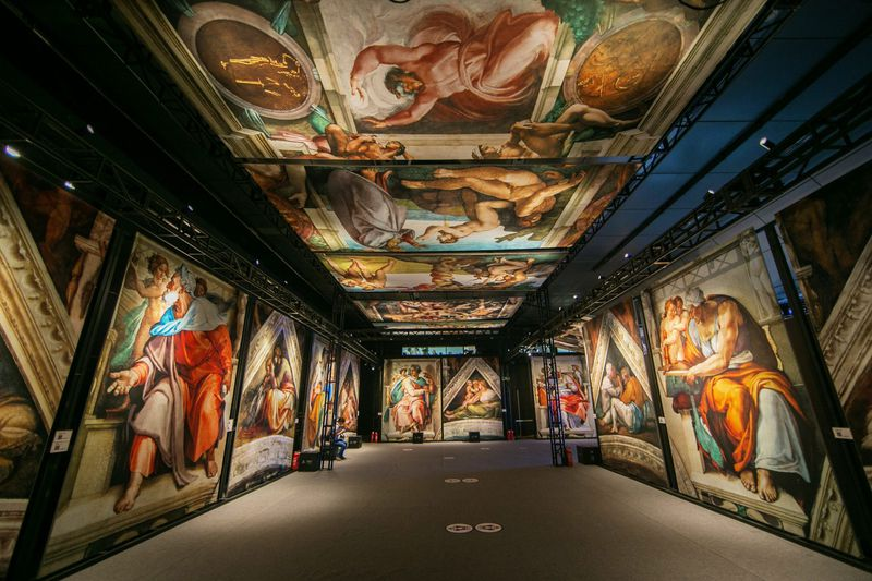 """You can walk among life-sized reproductions of a fresco masterpiece when you visit """"Michelangelo's Sistine Chapel: The Exhibition"""" in Oakbrook Center."""