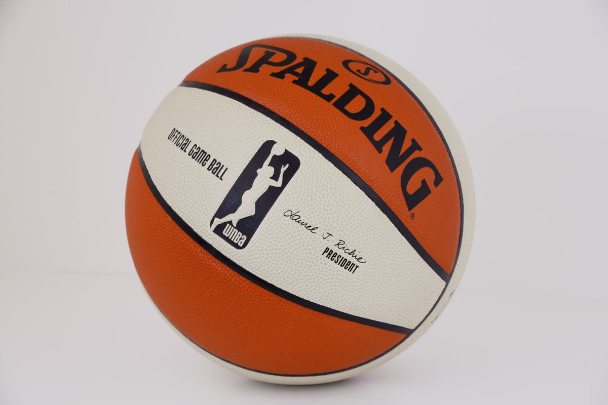 The WNBA's new ball with new logo formally announced today.