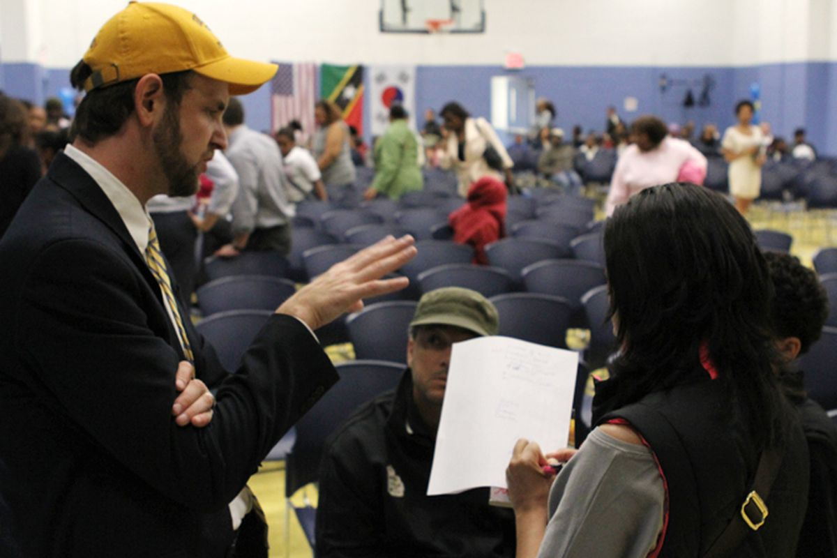 Democracy Prep charter network superintendent Seth Andrew at a 2012 admissions lottery event.