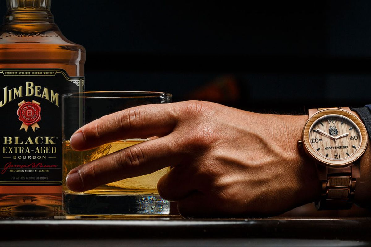 w whiskey barrel original wood by made watches kickstarter the pin grain watch handcrafted