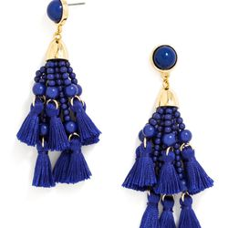These Yves Klein Blue tassel earrings are for statement earring beginners: bright and sizable, but still pretty classic.