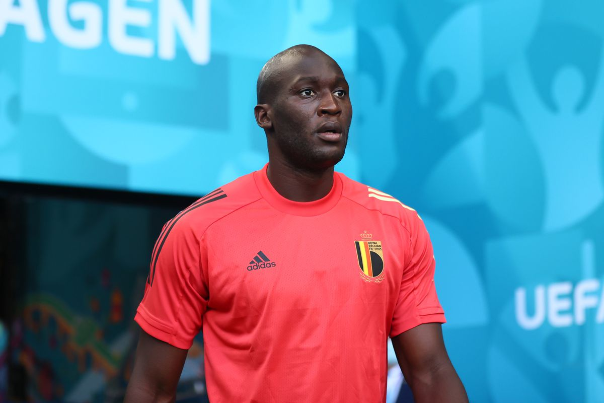 Romelu Lukaku of Belgium walks out on to the pitch prior to the Belgium Training Session ahead of the Euro 2020 Group B match between Denmark and Belgium at Parken Stadium on June 16, 2021 in Copenhagen, Denmark.