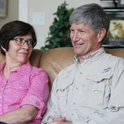 Veldon Sorensen talks with his wife Diane at their home in Salt Lake City Friday, Sept. 13, 2013. Sorensen is retired from Bayer but still consults for the company and others about bees.