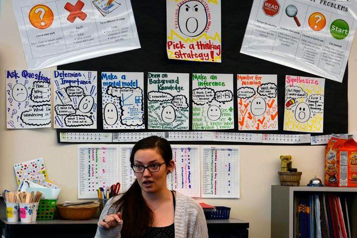 Math teacher Kelly Hutchings, in her class at Boston K-8 school in Aurora on March 3, 2015.