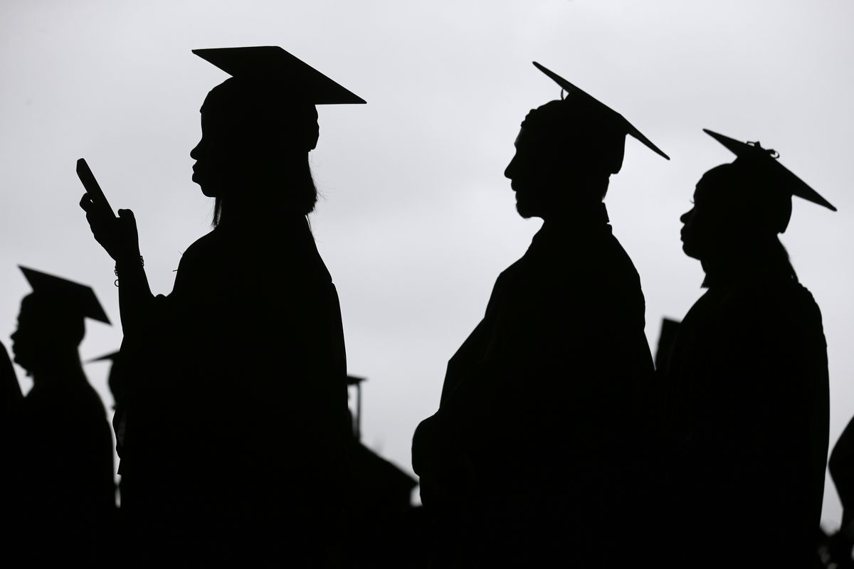 Graduates line up before the start of the Bergen Community College commencement at MetLife Stadium.