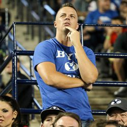 BYU fans watch the action as their team trails the Utah at LaVell Edwards Stadium in Provo on Saturday, Sept. 9, 2017.