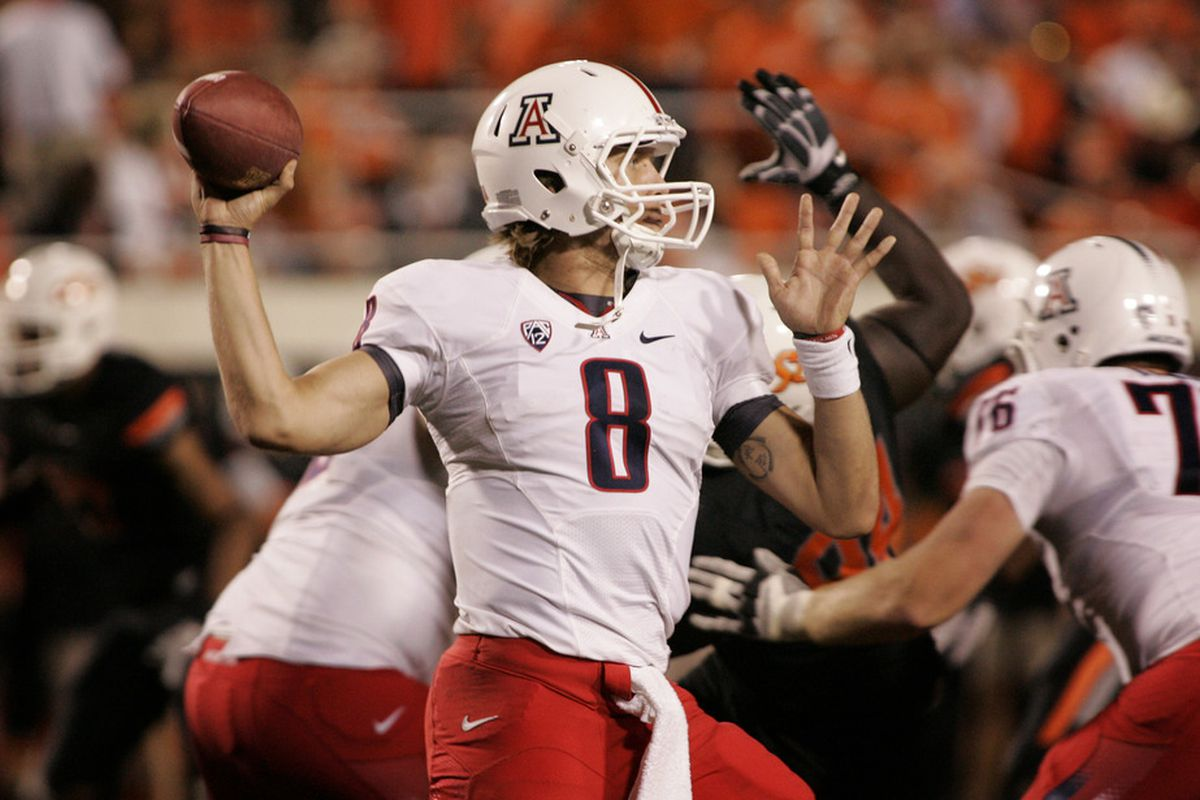 Arizona quarterback Nick Foles attempts a pass during last Thursday's loss to Oklahoma State.