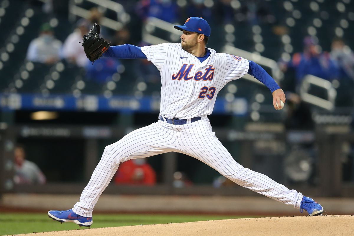 New York Mets starting pitcher David Peterson pitches against the Philadelphia Phillies during the first inning at Citi Field.