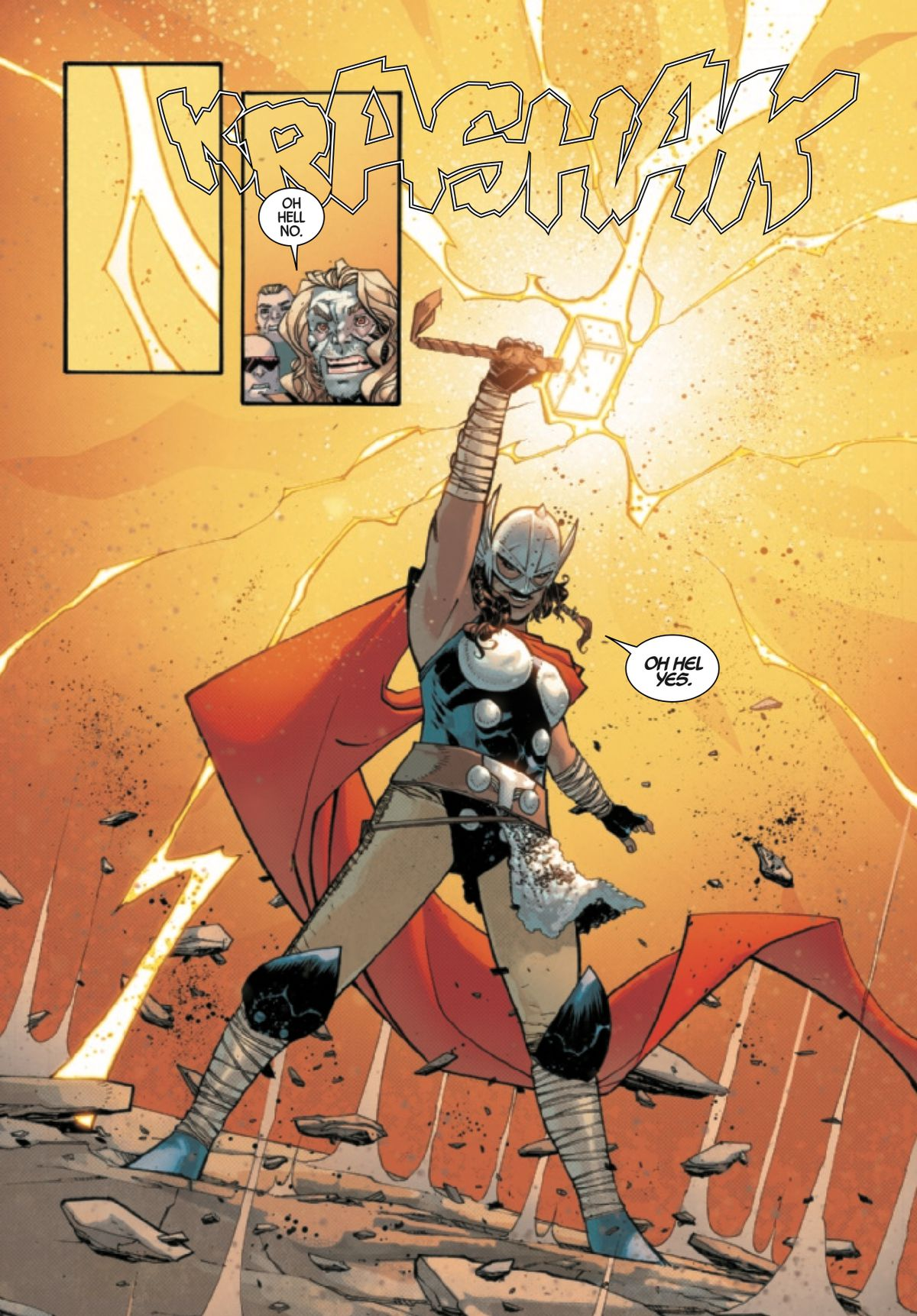 Danielle Cage shows she is worthy by lifting Mjolnir and gaining the powers of Thor, in Dead Man Logan #11, Marvel Comics (2019).