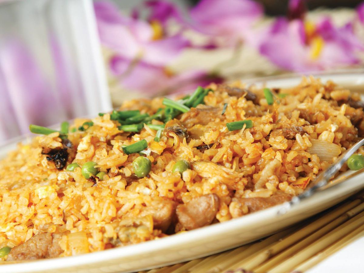 Chicken fried rice on a plate