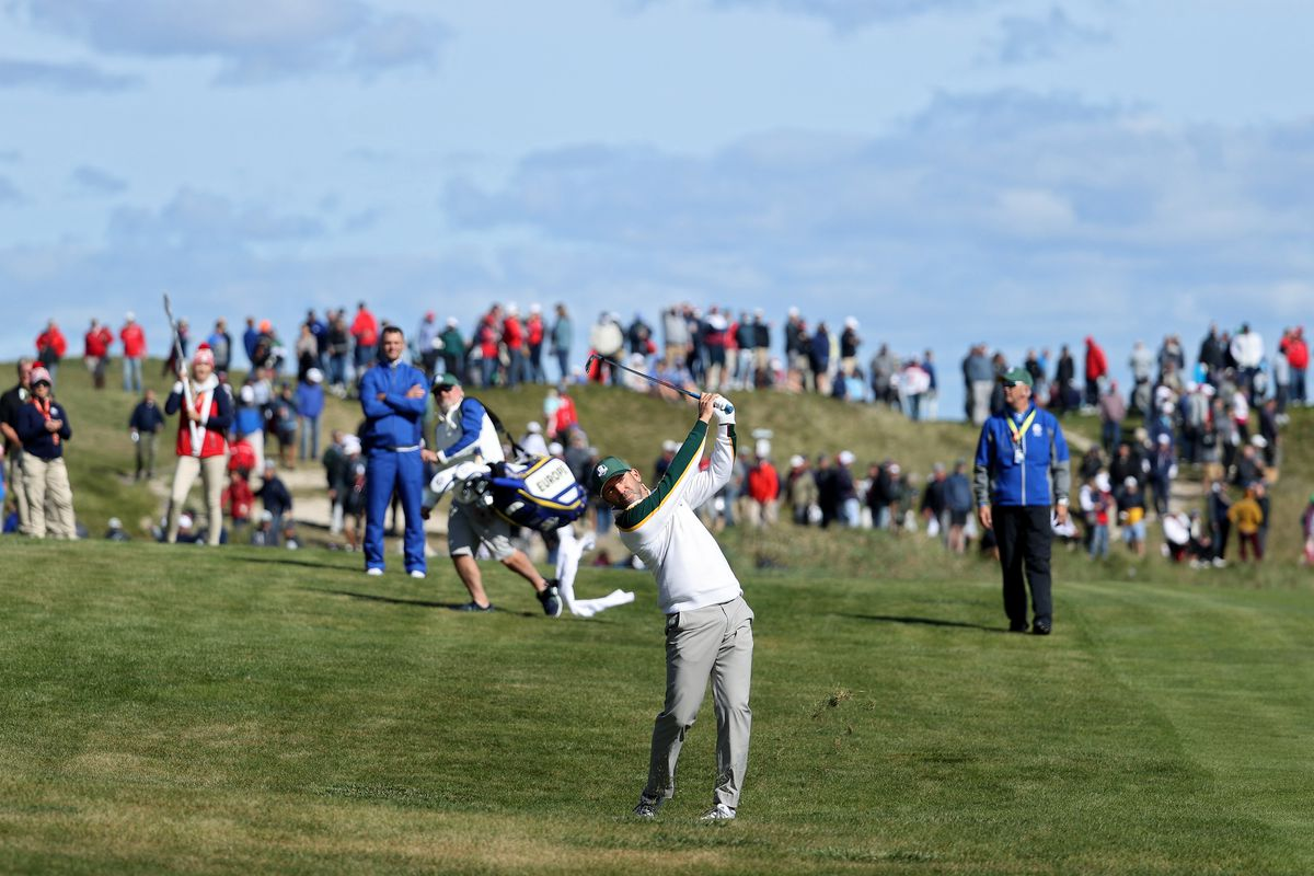 Sergio Garcia of Spain and team Europe plays a shot on the 18th hole during a practice round prior to the 43rd Ryder Cup at Whistling Straits on September 22, 2021 in Kohler, Wisconsin.