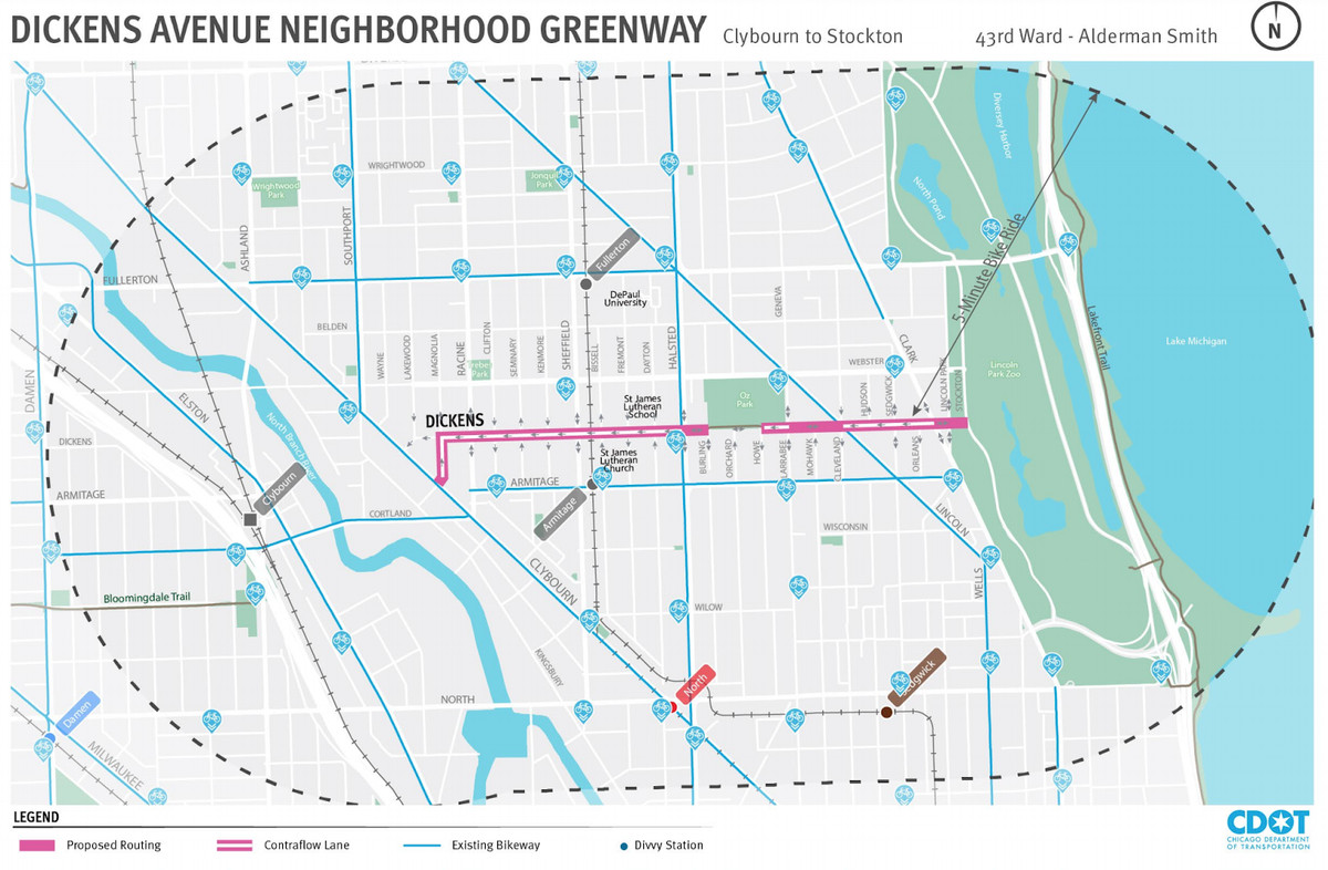 A map of Chicago zoomed in on Lincoln Park shows a pink highlighted route from Clybourn to Lincoln Park.