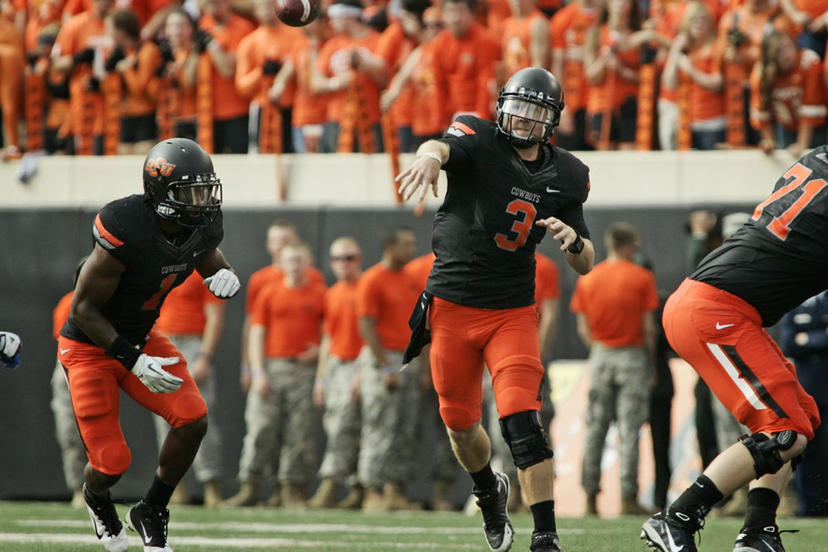 Oklahoma State takes their air assault to Austin this weekend.   (Photo by Brett Deering/Getty Images)