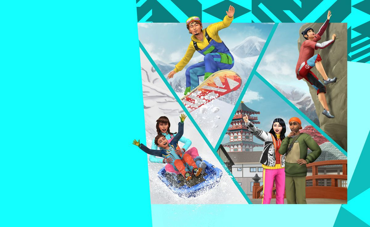 artwork of Sims participating in winter activities, likes snowboarding and sledding