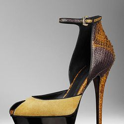 "Framed Python and Suede Platform Sandals, $775 at <a href=""http://us.burberry.com/store/womens-shoes/sandals/heels/prod-38313811-framed-pythonsuede-platform-sandals/"">Burberry</a>."