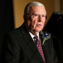 Elder M. Russell Ballard, of the LDS Church's Quorum of the Twelve Apostles, gives a personal tribute to Sen. Orrin Hatch, who received the 2017 Distinguished Utahn Award given by BYU Management Society in Salt Lake City on Thursday, June 1, 2017.