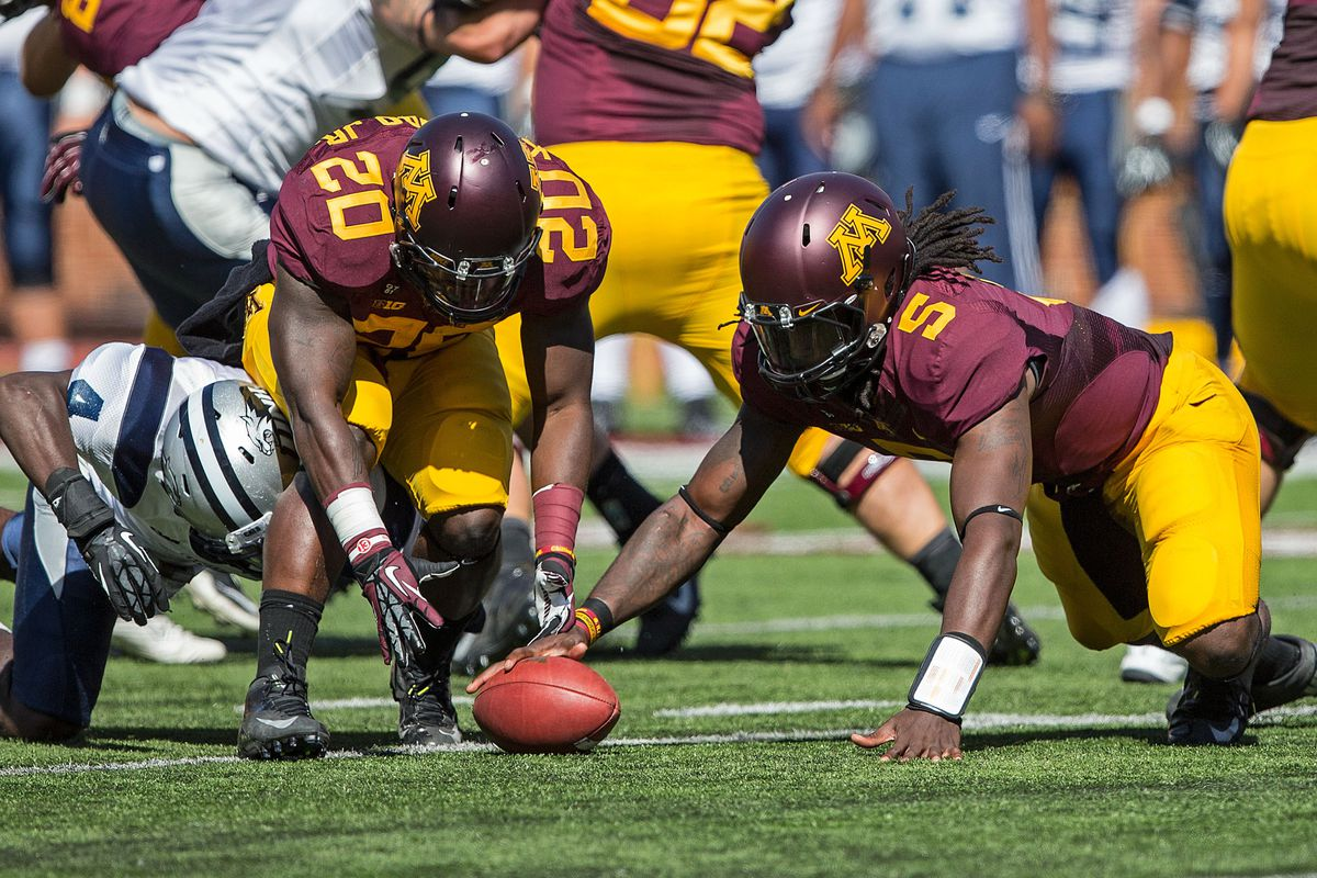 Sept 8, 2012; Minneapolis, MN, USA: Minnesota Gophers quarterback MarQueis Gray (5), running back Donnell Kirkwood (20) dive for a fumble in the first half at TCF Bank Stadium. Mandatory Credit: Jesse Johnson-US PRESSWIRE