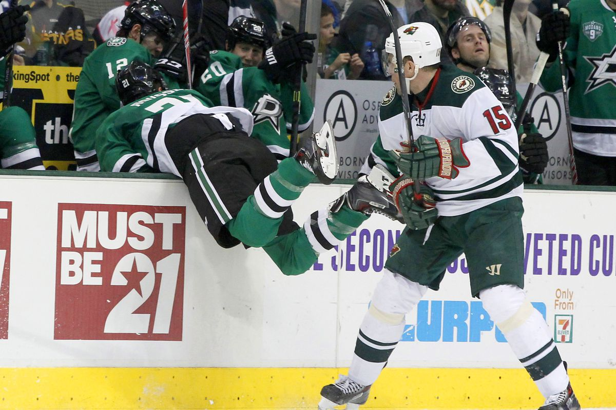 Antoine Roussel gets penalized for being anywhere near Dany Heatley, according to those refs in the second period.