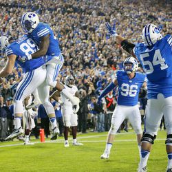 Brigham Young Cougars tight end Tanner Balderree (89) celebrates the go-ahead touchdown with teammates as BYU and Mississippi State play in Provo at LaVell Edwards Stadium on Friday, Oct. 14, 2016.