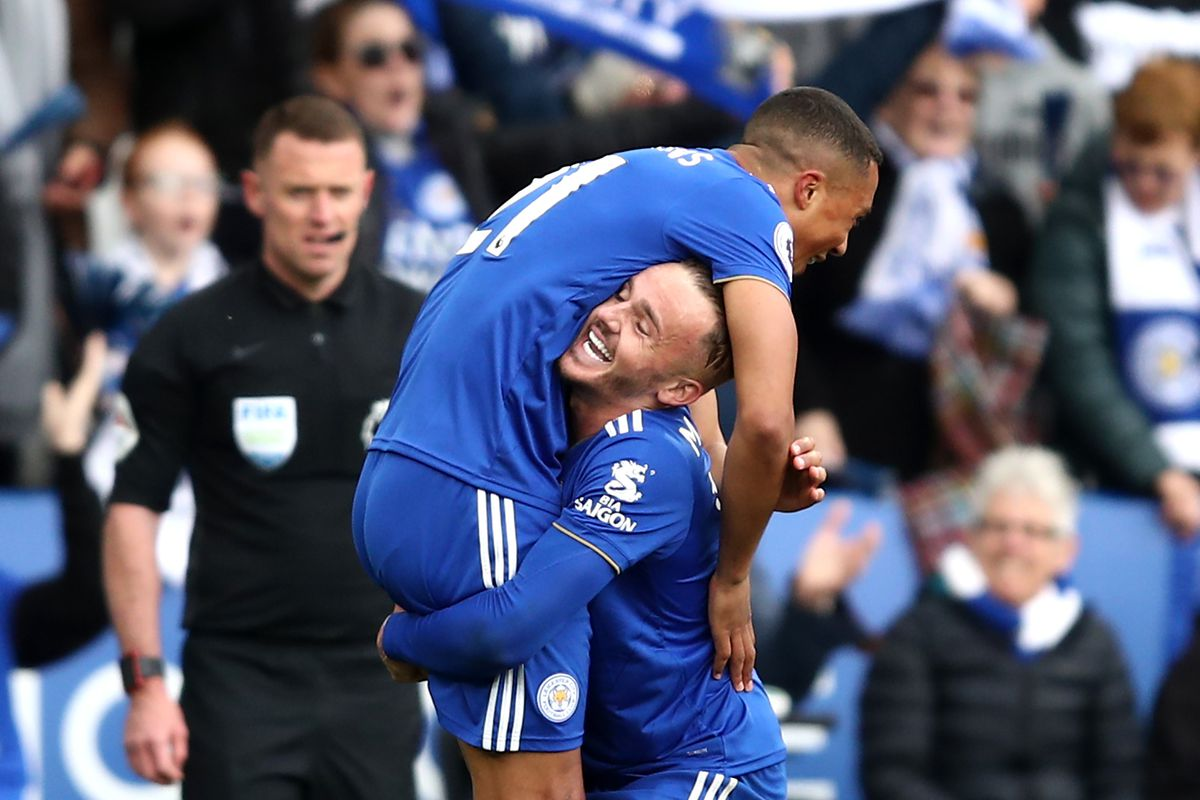 Youri Teilemans celebrates with James Maddison - Leicester City - Premier League