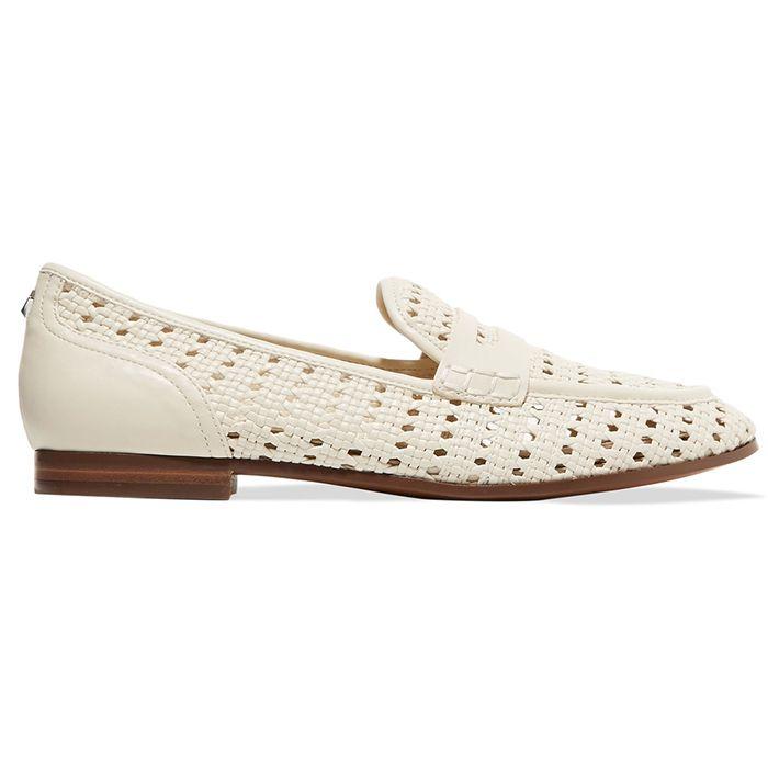 white woven sandals