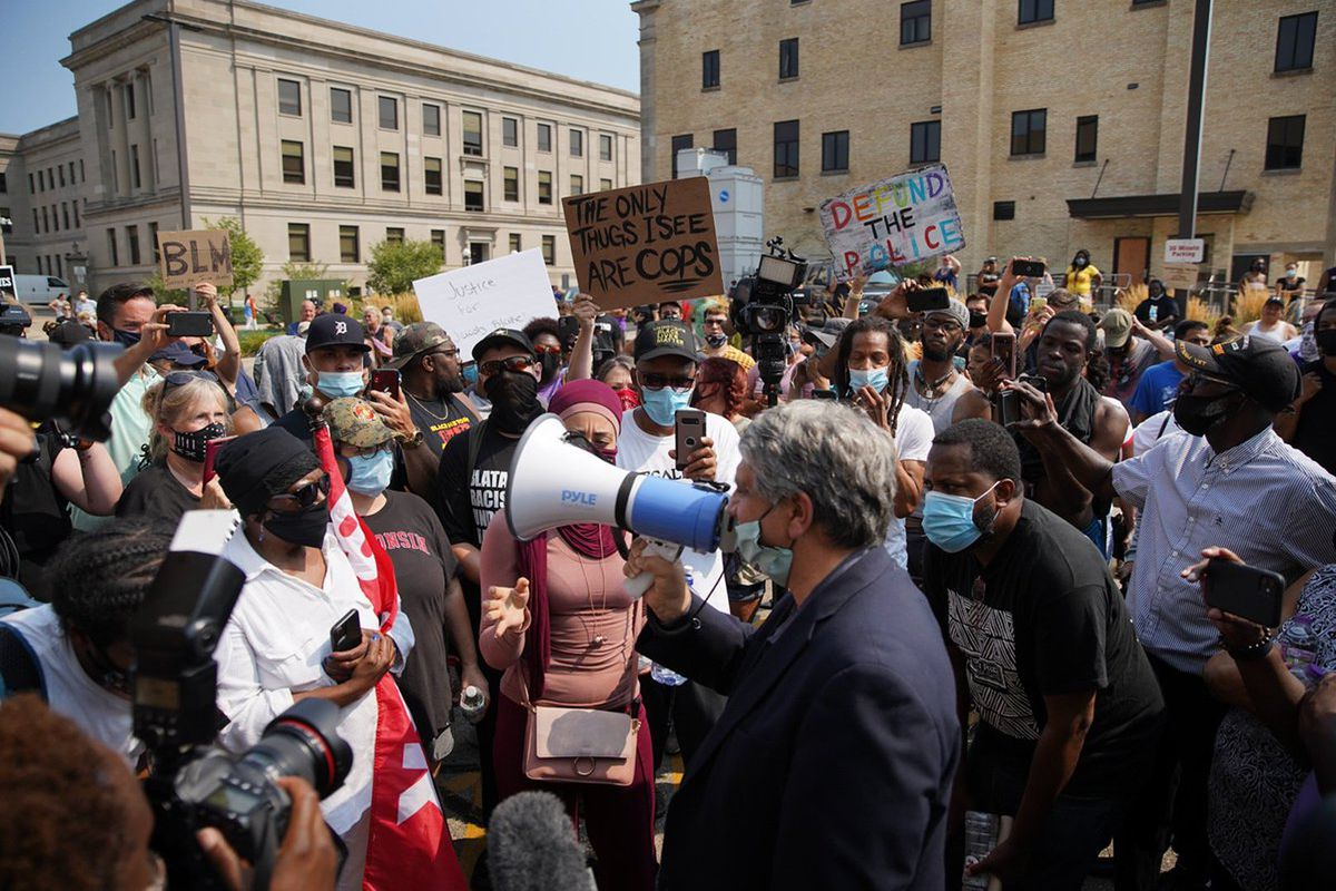 Protests resumed in Kenosha, Wisc. on Monday afternoon, Aug. 24, 2020 after police shot and wounded Jacob Blake the day before.