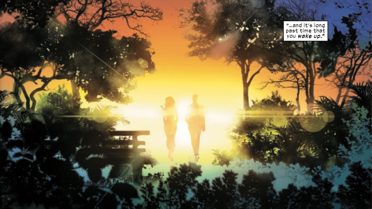 Moira and Professor X walk into the sunset in Powers of X #6, Marvel Comics (2019).