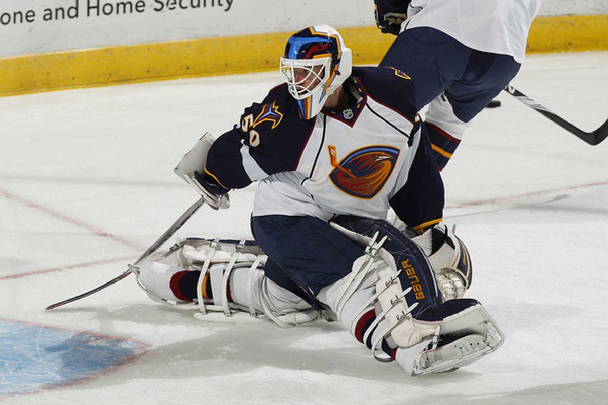 SUNRISE FL - NOVEMBER 3: Goaltender Chris Mason #50 of the Atlanta Thrashers warms up in goal prior to the game against the Florida Panthers on November 3 2010 at the BankAtlantic Center in Sunrise Florida. (Photo by Joel Auerbach/Getty Images)
