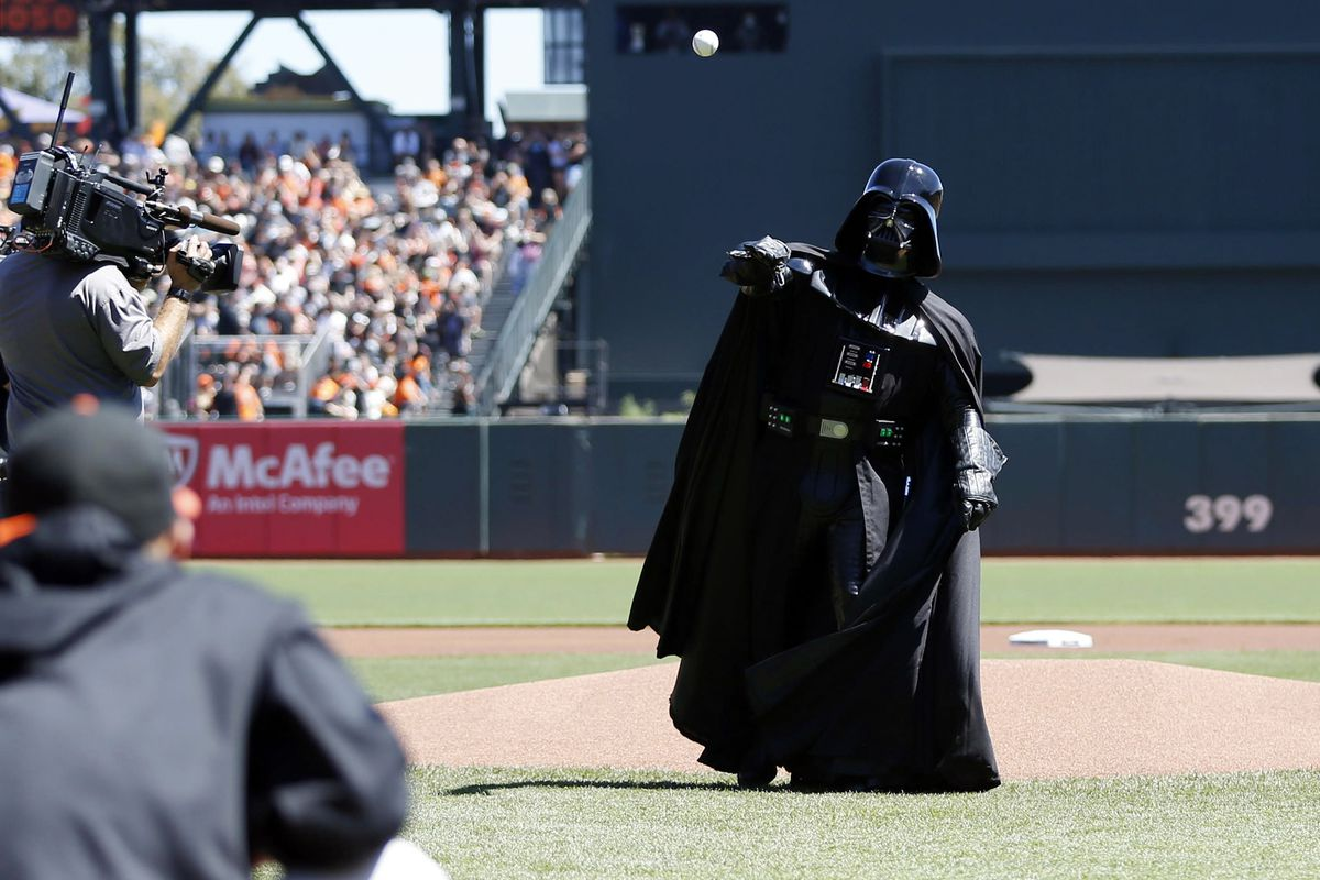 PICTURED: Genocidal madman Darth Vader throws freedom fighter Luke Skywalker (not pictured) a real curveball in the middle of their showdown.